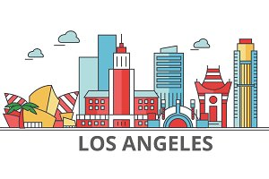 Los Angeles city skyline: buildings, streets, silhouette, architecture, landscape, panorama, landmarks. Editable strokes. Flat design line vector illustration concept. Isolated icons on background