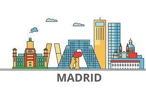 Madrid city skyline: buildings, streets, silhouette, architecture, landscape, panorama, landmarks. Editable strokes. Flat design line vector illustration concept. Isolated icons on white background
