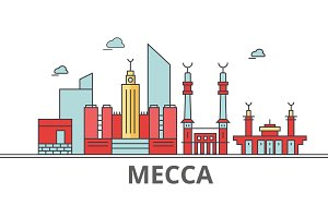 Mecca city skyline: buildings, streets, silhouette, architecture, landscape, panorama, landmarks. Editable strokes. Flat design line vector illustration concept. Isolated icons on white background