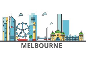 Melbourne city skyline: buildings, streets, silhouette, architecture, landscape, panorama, landmarks. Editable strokes. Flat design line vector illustration concept. Isolated icons on white background