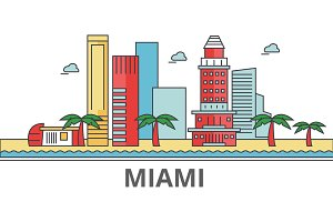 Miami city skyline: buildings, streets, silhouette, architecture, landscape, panorama, landmarks. Editable strokes. Flat design line vector illustration concept. Isolated icons on white background