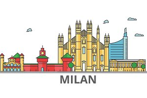 Milan city skyline: buildings, streets, silhouette, architecture, landscape, panorama, landmarks. Editable strokes. Flat design line vector illustration concept. Isolated icons on white background