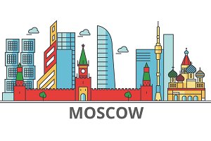 Moscow city skyline: buildings, streets, silhouette, architecture, landscape, panorama, landmarks. Editable strokes. Flat design line vector illustration concept. Isolated icons on white background