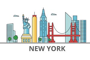 New York city skyline: buildings, streets, silhouette, architecture, landscape, panorama, landmarks. Editable strokes. Flat design line vector illustration concept. Isolated icons on white background