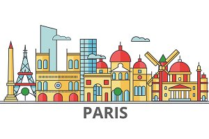 Paris city skyline: buildings, streets, silhouette, architecture, landscape, panorama, landmarks. Editable strokes. Flat design line vector illustration concept. Isolated icons on white background