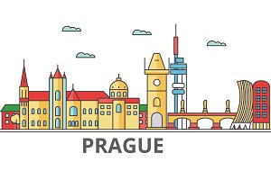 Prague city skyline: buildings, streets, silhouette, architecture, landscape, panorama, landmarks. Editable strokes. Flat design line vector illustration concept. Isolated icons on white background