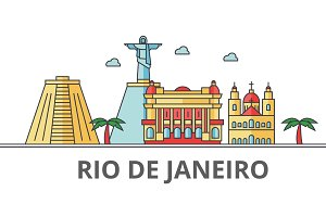 Rio De Janeiro city skyline: buildings, streets, silhouette, architecture, landscape, panorama, landmarks. Editable strokes. Flat design line vector illustration concept. Isolated icons on background