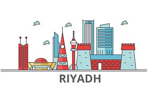 Riyadh city skyline: buildings, streets, silhouette, architecture, landscape, panorama, landmarks. Editable strokes. Flat design line vector illustration concept. Isolated icons on white background