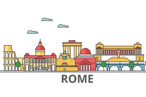 Rome city skyline: buildings, streets, silhouette, architecture, landscape, panorama, landmarks. Editable strokes. Flat design line vector illustration concept. Isolated icons on white background