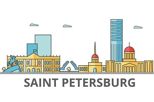 Saint Petersburg city skyline: buildings, streets, silhouette, architecture, landscape, panorama, landmarks. Editable strokes. Flat design line vector illustration concept. Isolated icons