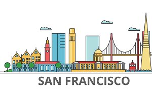 San Francisco city skyline: buildings, streets, silhouette, architecture, landscape, panorama, landmarks. Editable strokes. Flat design line vector illustration concept. Isolated icons on background