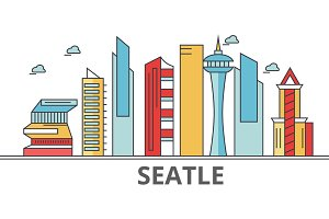 Seattle city skyline: buildings, streets, silhouette, architecture, landscape, panorama, landmarks. Editable strokes. Flat design line vector illustration concept. Isolated icons on white background