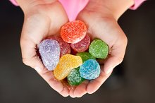 Jelly candy in child hands