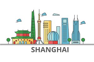 Shanghai city skyline: buildings, streets, silhouette, architecture, landscape, panorama, landmarks. Editable strokes. Flat design line vector illustration concept. Isolated icons on white background