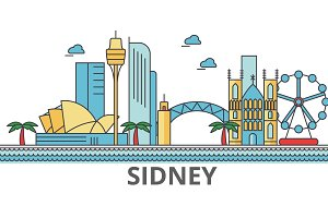 Sidney city skyline: buildings, streets, silhouette, architecture, landscape, panorama, landmarks. Editable strokes. Flat design line vector illustration concept. Isolated icons on white background
