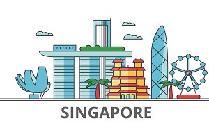 Singapore city skyline: buildings, streets, silhouette, architecture, landscape, panorama, landmarks. Editable strokes. Flat design line vector illustration concept. Isolated icons on white background