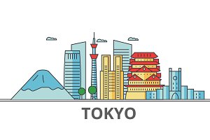 Tokyo Japan city skyline: buildings, streets, silhouette, architecture, landscape, panorama, landmarks. Editable strokes. Flat design line vector illustration concept. Isolated icons on background