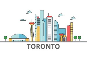 Toronto city skyline: buildings, streets, silhouette, architecture, landscape, panorama, landmarks. Editable strokes. Flat design line vector illustration concept. Isolated icons on white background