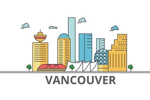 Vancouver city skyline: buildings, streets, silhouette, architecture, landscape, panorama, landmarks. Editable strokes. Flat design line vector illustration concept. Isolated icons on white background
