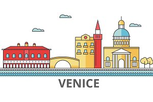 Venice city skyline: buildings, streets, silhouette, architecture, landscape, panorama, landmarks. Editable strokes. Flat design line vector illustration concept. Isolated icons on white background