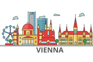 Vienna city skyline: buildings, streets, silhouette, architecture, landscape, panorama, landmarks. Editable strokes. Flat design line vector illustration concept. Isolated icons on white background