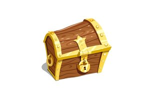 Vintage wooden chest for keep treasure vector