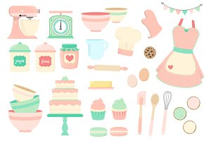 Pink and Mint Kitchen Clipart