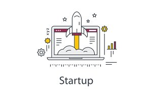 Business Startup illustration. Rocket and laptop. Line vector icon.