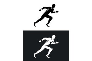 muscular sprinter runner set. Black and white silhouette. Flat design.