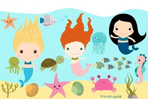 Mermaids and sea creatures clipart