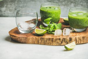 Fresh green smoothie with ice