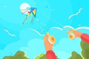 Playing with kite