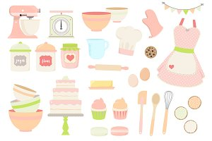 Pink and Green Baking Clipart