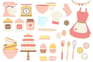 Pink and Yellow Baking Clipart