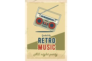 Retro party poster design. Music event at night club. Vintage invitation template. Grunge effects. Old cassette tape recorder.