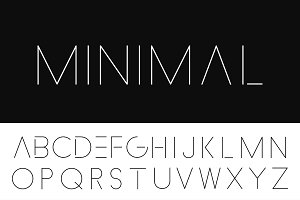 Minimalistic font. Thin design.