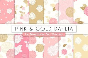 Pink and Gold Peony Digital Paper