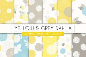 Yellow and Gray Floral Patterns