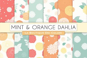 Mint and Orange Floral Patterns