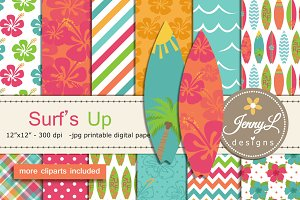 Surfing Digital Papers & Clipart