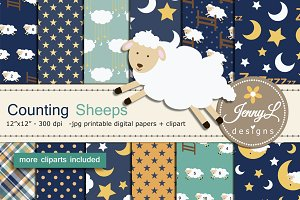 Sheep Digital Papers & Clipart