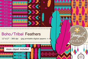 Boho Feather Digital Papers Clipart