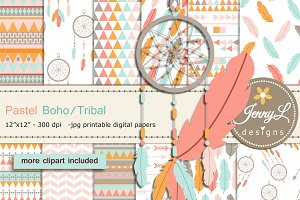 Pastel Boho Digital Papers Clipart