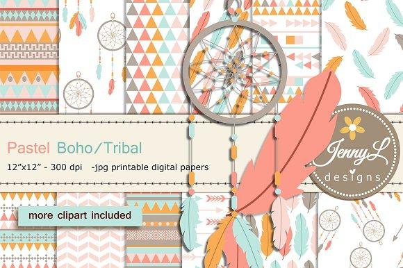 Pastel Boho Digital Papers Clipart