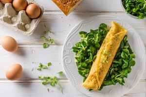 True French omelette with salad