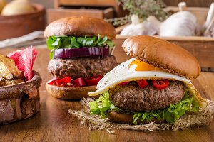 Delicious beef burger with egg