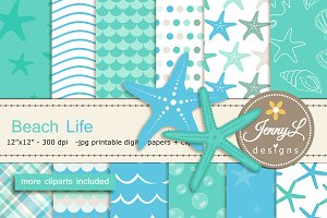 Beach Digital Papers & Clipart