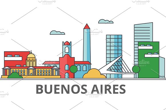 Buenos Aeros city skyline: buildings, streets, silhouette, architecture, landscape, panorama, landmarks. Editable strokes. Flat design line vector illustration concept. Isolated icons on background