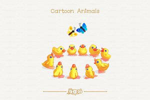 ♥ vector Little yellow ducklings