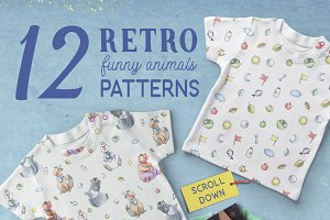 Cute Animals - Retro Patterns Set